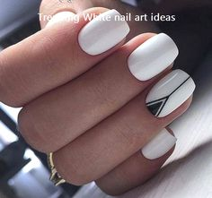 Classy White Nail Art You Should Try for more ideas. Nails 48 Classy White Nail Art You Should Try 2019 - Page 7 of 47 - Fashion Star Nagellack Design, Nagellack Trends, Cute Nail Art Designs, White Nail Designs, White Nails With Design, Black And White Nail Art, Fingernail Designs, Black White, Cute Acrylic Nails