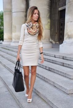 One Piece Beige Dress with Scarf for Work - love the clean lines. Sexy but still work appropriate if I through a blazer on