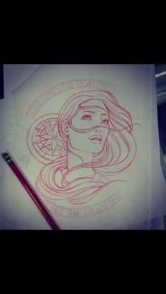 Pocahontas Compass tattoo design. I love the outlines and how it's red and not black.