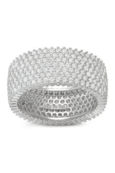 Sterling Silver Created White Sapphire Eternity Band Ring