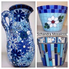 Mosaic Flower Pots, Mosaic Pots, Mosaic Garden, Mosaic Bottles, Mugs, Tableware, How To Make, Vases, Home Decor
