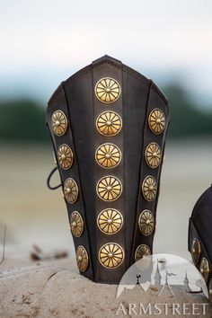 Leather bracers with brass accents for your Roman character. Signature materials quality and etching, as always at ArmStreet. Available in: brown leather, black leather, brass Leather Bracers, Leather Cuffs, Brown Leather, Roman Armor, Arm Armor, Roman Characters, Roman Jewelry, Roman Fashion, Medieval Armor