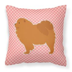 Chow Chow Checkerboard Pink Fabric Decorative Pillow BB3651PW1818