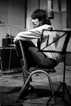 "George at a recording session for the album ""Sgt Pepper's Lonely Hearts Club Band"" - The Beatles"