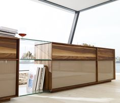 Lux Modern Walnut and Glass Sideboard - modern - buffets and sideboards - london - Wharfside Furniture, Furniture Market, Interior, Mid Century Glass, Dining Furniture, Wood Sideboard Cabinet, Solid Wood Furniture, Modern Buffets And Sideboards, Wood Furniture