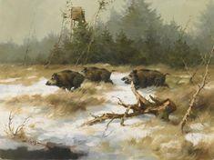 Manfred Schatz: Kalter Wintertag. Wildschweine auf verschneiter Lichtung aus unserer Rubrik: Gemälde des 19. Jahrhunderts
