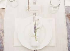 Lavender sprig at place setting