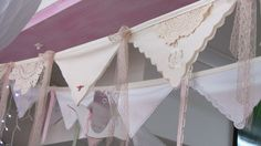 Use handkerchiefs in neutrals for easy bunting. More Design Please - MoreDesignPlease - Best of Creative Bunting Doily Bunting, Bunting Garland, Diy Garland, Bunting Banner, Bunting Ideas, Vintage Bunting, Diy And Crafts, Arts And Crafts, Linens And Lace