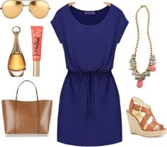 Navy dress with pastel accessories. Perfect for a summer date or vacation.