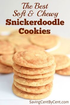 Cookie recipes 70720656636496005 - This is the best soft and chewy snickerdoodle cookies recipe. // Easy snickerdoodle cookies // Chewy snickerdoodle recipe // Best snickerdoodle recipe // Source by savingcentbycen Chewy Snickerdoodle Cookie Recipe, Chewy Sugar Cookies, Peanut Butter Cookie Recipe, Sugar Cookies Recipe, Cookies Et Biscuits, Cookies Vegan, Chewy Snickerdoodles Recipe, Home Made Cookies Recipe, Recipes