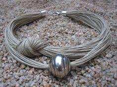 Necklace Linen Eco-Friendly Thread Knots Metal Silver by espurna88