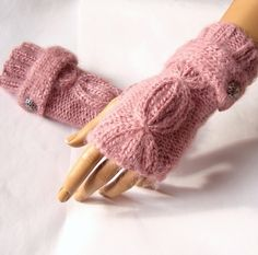 Handknitting, Pink Glove, Mitten, Arm Warmer Adorned Button, Winter Accessories, Fall Fashion, Dark Pink