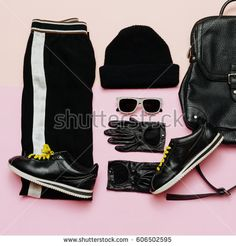 Fashion Outfit for women. Black stylish clothes. Sports urban. Spring Collection