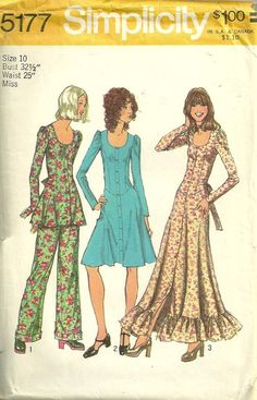 Simplicity 5177 1970s Misses Basque Waist Dress Tunic and Pants by mbchills, womens vintage sewing pattern