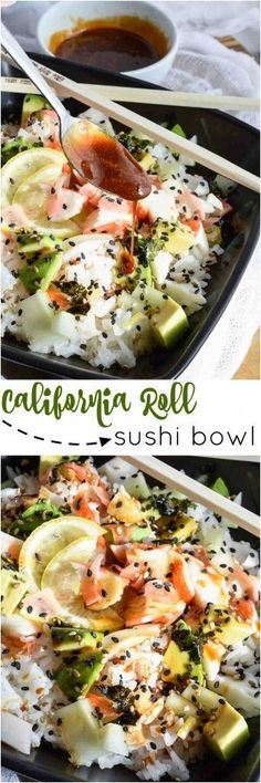 way too much on sushi? Super easy, healthy homemade sushi to the rescue with this California Roll Sushi Bowl Recipe!Spending way too much on sushi? Super easy, healthy homemade sushi to the rescue with this California Roll Sushi Bowl Recipe! Seafood Recipes, Dinner Recipes, Cooking Recipes, Vegaterian Recipes, Lunch Recipes, Cooking Tips, Recipies, Think Food, I Love Food