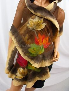 Hand made silk shawl on natural silk, silk scarves, silk scarf, Nuno felting, Nuno felted. Felted with Australian merino wool. Felt Diy, Felt Crafts, Nuno Felting, Needle Felting, Silk Shawl, Felt Flowers, Silk Scarves, Wool Felt, Merino Wool