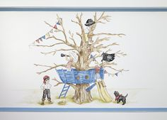 A detailed hand-painted  illustration by artists at Dragons of Walton Street of Belle and Boo for boys. This artwork can be painted onto any of your furniture from Dragons and each boy can be playing a different game.   www.dragonsofwaltonstreet.com