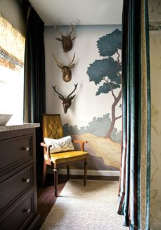 mural love | antlers | green, grey + chartreuse