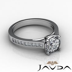 Excellent Round Diamond Pave Set Engagement Ring GIA H VS2 14k White Gold 1 3 Ct | eBay