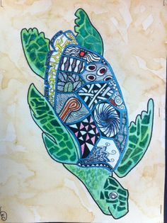 Mixed media Zentangle sea turtle by 8th grader Kyleigh L.