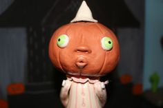 Funny Clown Girl Pumpkin Figure by WoollyGhoulie on Etsy