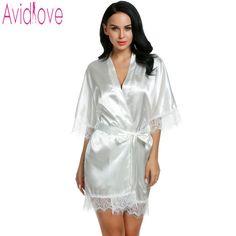 0e60a6ac8b1 Avidlove Mujeres Sexy Robe pijamas Noche 3 4 de Manga Corta de encaje  Satinado Kimono