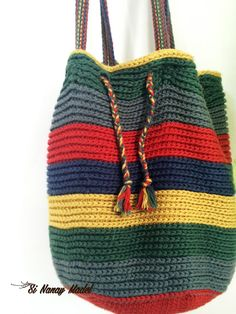 Make Hobo Bag Ravelry: Over-sized Stripped Market Bag pattern by Si Nanay Madel - Crochet Hobo Bag, Crochet Beach Bags, Crochet Market Bag, Crochet Handbags, Crochet Purses, Crochet Bags, Scrap Yarn Crochet, Cotton Crochet, Hobo Bag Patterns