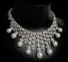 Pearl & Diamond Bib Necklace by Arzano Jewellery - @Prestige_Promenade Member
