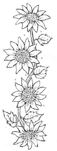 Embroidery sunflower sunflowers cross stitch 28 Ideas for 2019 Sunflower Quilts, Sunflower Pattern, Sunflower Stencil, Sunflower Drawing, Sunflower Design, Tole Painting, Fabric Painting, Colouring Pages, Coloring Books