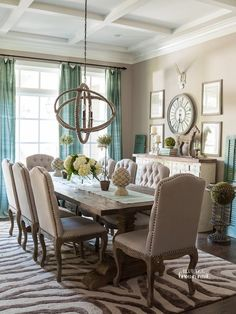 Dining room decor ideas - Transitional, eclectic tan and turquoise dining room in the Washington DC home of Christen Bensten of Blue Egg Brown Nest – photo: Helen Norman. Elegant Dining Room, Dining Room Design, Dining Room Table, Dining Chairs, Beautiful Dining Rooms, Dining Sets, Dinning Room Curtains, Dining Room Clock, Beige Dining Room