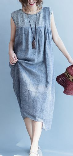 fine linen gray linen patchwork asymmetric maxi dress