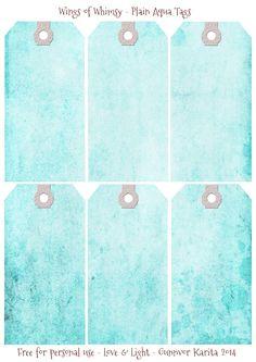 Wings of Whimsy: plain aqua tags ephemera printables