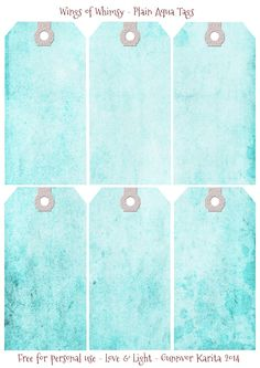 Wings of Whimsy: Plain Aqua Tags #vintage #ephemera #printable #freebie #diy