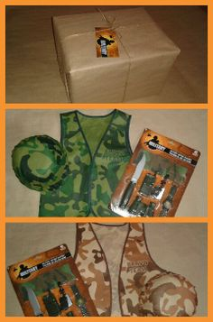 Call of Duty, care package party favor. I'm going to buy soldier vests for all the kids attending Camouflage Birthday Party, Army Birthday Parties, Army's Birthday, Zombie Birthday, Birthday Ideas, Game Truck Party, Nerf Party, Man Party, Military Party