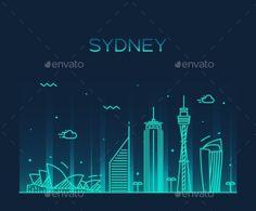 Sydney Skyline by gropgrop Sydney skyline detailed silhouette Trendy vector illustration linear style