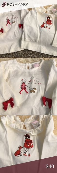 Janie and Jack tops 😥 so cute! Sad to sell these but it's time. Both tops have button closure in the back keyhole style little girl with Fox has ruffle trim that little girl with dog has bright red bows on three-quarter length sleeve's both tops worn 1 to 2 times clean no stains Janie and Jack Shirts & Tops Tees - Long Sleeve