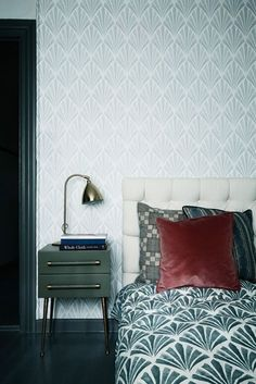 Deco Fan is on the walls combined with printed Deco Fan textile as bedcover. Small furniture from Chelsea textiles. Hand Built headboard from TAPET-CAFE. Photograph by Line Klein/Stine Langvad featured in Danish Elle Decoration, may Art Deco Bedroom, Home Bedroom, Bedroom Decor, Master Bedroom, Sweet Home, Modern Art Deco, Workspace Design, Bedroom Green, Bedroom Colours