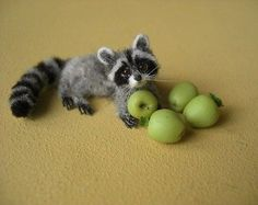 Miniature-Baby-Raccoon-with-Apples-OREON