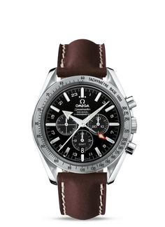 3881.50.37 : Omega Speedmaster Broad Arrow Co-Axial GMT Black / Leather