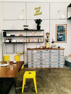 Good One cafe  Style, design, decorating, yellow and grey #Ponsonby#Auckland#coffee#vintage#colours#white#tea#afternoon#industrial#interior | Seaside. Man, Sky, Cloud and Sea. | VSCO Grid