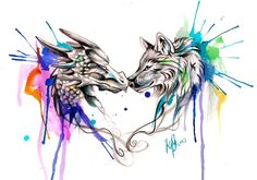 Dragon and Wolf Color Splash Design by Lucky978.deviantart.com on @deviantART