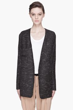 Chloe Grey And White Speckled Blazer for women | SSENSE