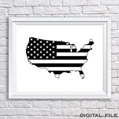4th of july decor poster print Map of the USA poster united states of america…