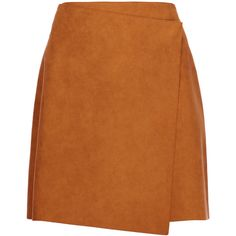 MSGM - Wrap-effect Faux Suede Mini Skirt ($142) ❤ liked on Polyvore featuring skirts, mini skirts, saia, tan, short brown skirt, msgm, wrap around skirt, patterned mini skirt and brown mini skirt