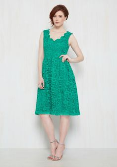 Bedecked in this green midi dress - a stunning feature of our ModCloth namesake label - you approach the ceremony with a supportive smile. A scalloped neckline and gorgeous crocheted lace adorn this pocketed, vintage-inspired A-line, which pair perfectly with the silver linings that detail the day!