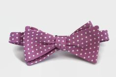 pink polka dot bow tie, men's self tie bowtie in pink with polka dots, cotton freestyle bow tie with pink polka dots by dotandace on Etsy