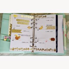 planner pages decorated gold