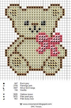 Ourson - Cross me not - cross stitch patterns! Cross Stitch For Kids, Cross Stitch Baby, Cross Stitch Animals, Cross Stitch Charts, Cross Stitch Designs, Cross Stitch Patterns, Cross Stitching, Cross Stitch Embroidery, Embroidery Patterns