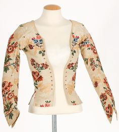 Imatex - gorgeous textile, jacket, 1770s?, very similar to one in CW's collection. Laces closed over a stomacher