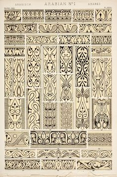 examples of classic arabian pattern (click through for egyptian, persian, greek and turkish) Owen Jones, Print Design, Antiques, Ornaments, Rugs, Antique Prints, Products, Home Decor, Antiquities